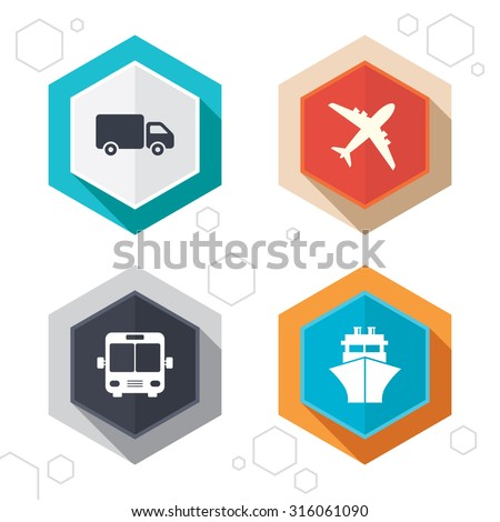 Hexagon buttons. Transport icons. Truck, Airplane, Public bus and Ship signs. Shipping delivery symbol. Air mail delivery sign. Labels with shadow. Vector