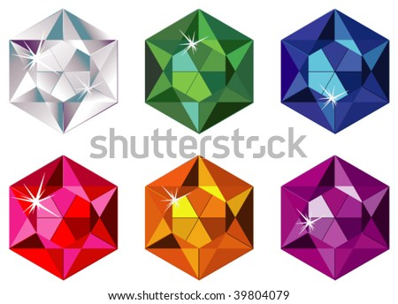 Hexagon cut precious stones with sparkle - stock vector