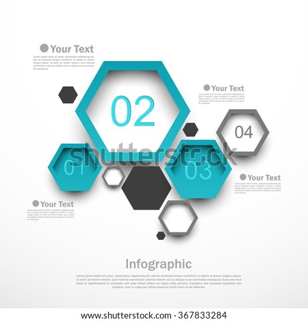 Hexagon design infographic template with four options vector illustration - stock vector