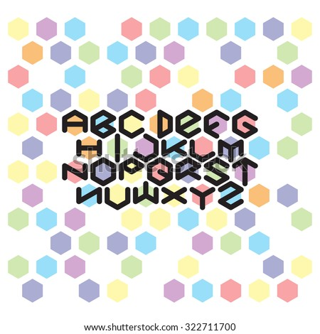Hexagon Font set. Abstract color hexagons and fat round line font - stock vector