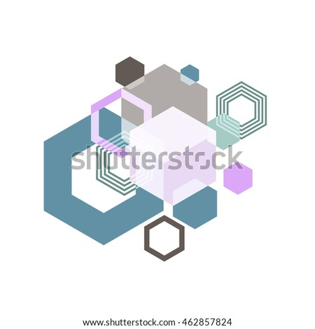 hexagon geometric abstract background, vector illustration