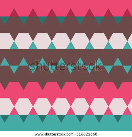 Hexagon geometric background. Polygonal seamless pattern. Striped abstract. - stock vector
