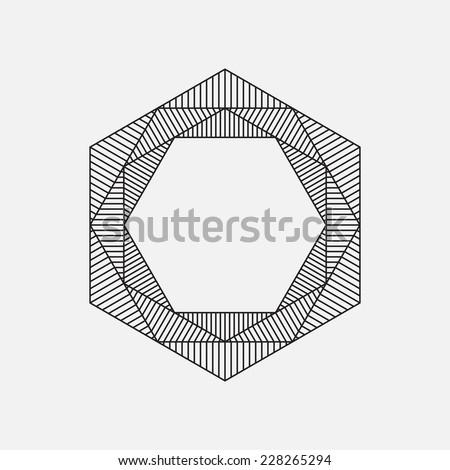 Hexagon, geometric element, line design, vector illustration - stock vector