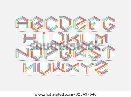 Hexagon isometric Font set - stock vector