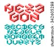 Hexagon isometric typeface made of impossible shapes. Vector. - stock photo