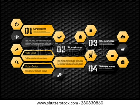 Hexagon layout with black and orange design elements. - stock vector