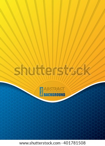 Hexagon pattern business brochure template design with bursting sun silhouette and white shadow wave - stock vector