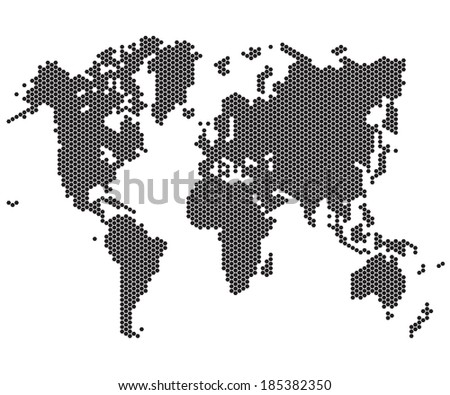 hexagon pixel World maps and globes - stock vector