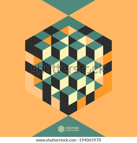 Hexagon shape with cubes inscribed. Vector illustration of 3d background.  Can be used for business concepts. - stock vector