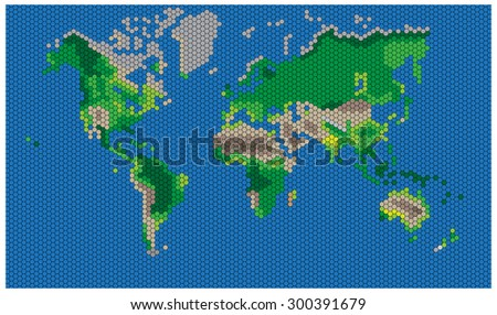 Hexagon shape world map on blue stock vector 300391679 shutterstock hexagon shape world map on blue background colored geographic vector illustration gumiabroncs Gallery