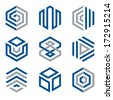 Hexagon shaped logo design elements 2. Abstract hexagonal vector symbols, blue and grey.