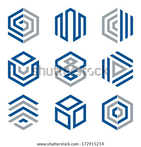 Hexagon shaped logo design elements 2. Abstract hexagonal vector symbols, blue and grey. - stock vector