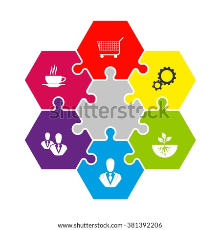 Hexagon Six Piece Flat Puzzle Round Stock Vector HD (Royalty Free ...
