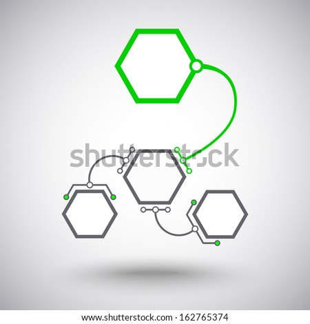 Hexagonal cells different size connected to the main unit of the arc-shaped links. Vector graphics - stock vector