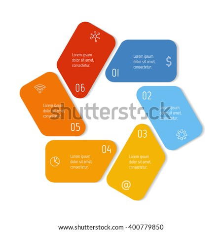 Hexagonal flower infographic banner with 6 options. Isolated number banner template for diagram, presentation or chart. Progress steps for tutorial. Business concept sequence banner. - stock vector