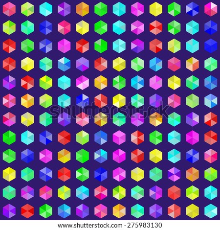 Hexagonal gems in random rainbow colors. EPS8 vector - stock vector