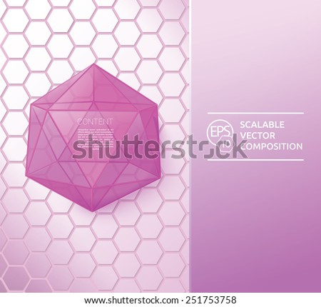 Hexagonal Glass Object With Reflecting Surfaces.  Scalable EPS10 Vector Illustration - stock vector