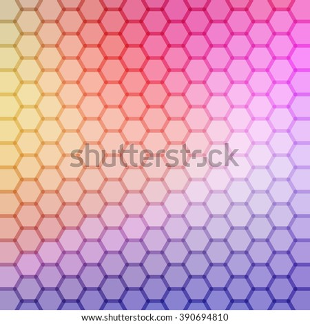 hexagonal gradient blue, red, yellow, violet, cyan color and triangle polygon pattern background (vector) - stock vector