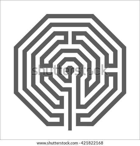 Hexagonal heathen Labyrinth Symbol isolated on white background. - stock vector