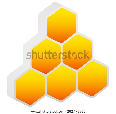 Hexagonal honeycomb, beehive element isolated on white. Vector illustration.