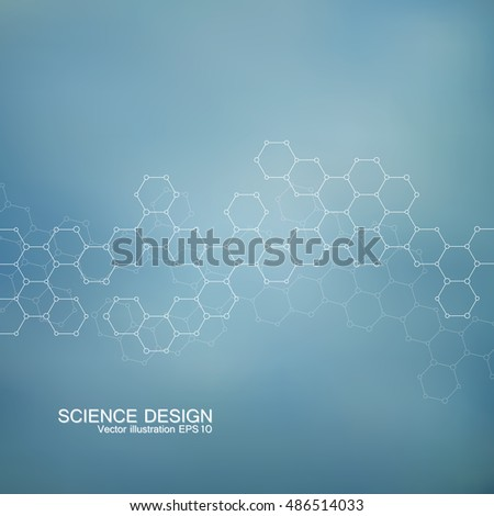 Hexagonal Molecular structure. Genetic and chemical compounds. Chemistry, medicine, science and technology concept. Geometric abstract background. Atom, DNA and neurons vector.