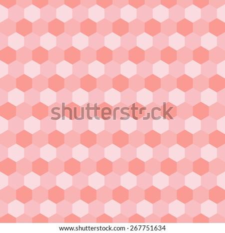 Hexagonal pink mosaic seamless background. Vector illustration. - stock vector