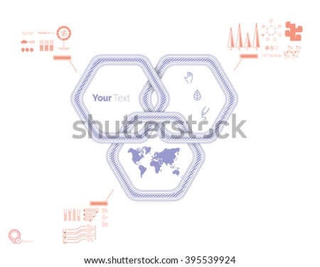 Hexagonal Purple Branding Sign Element for Your Scalable Full Page Presentation - stock vector