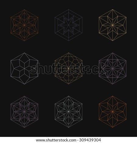 Hexagonal Shapes Set Crystal Forms Winter Stock Vector 309439196 ...