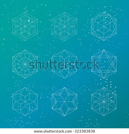 Hexagonal shapes set. Crystal forms. Winter design elements. Hexagons vector illustration. Snowflakes collection on sparkling background. Cosmic concept. - stock vector