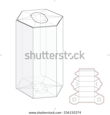 Hexagonal Tube Box with Die Cut Template - stock vector