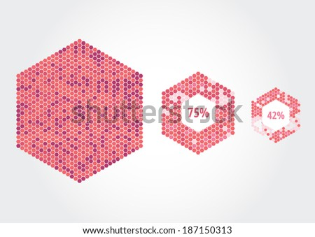 Hexagons constructed by hexagon cells. Every cell a separate object to combine colors of your own choosing.