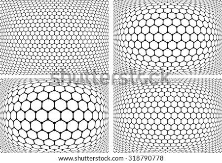 Hexagons patterns. Abstract geometric backgrounds set. Vector art. - stock vector