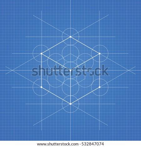 Hexahedron vector illustration hexahedron on blueprint stock hexahedron a vector illustration of hexahedron on blueprint technical paper background malvernweather Gallery