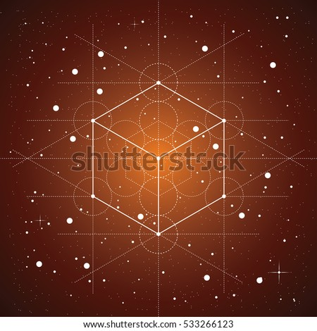 Hexahedron A Vector Illustration Of On Brown Space Background With Stars