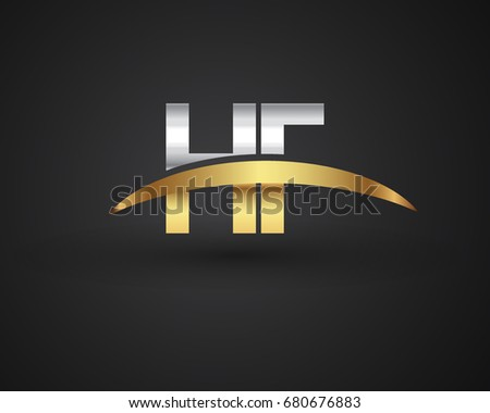 Hf Initial Logo Company Name Colored Stock Vector 680676883