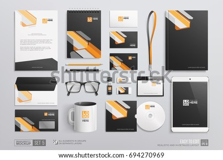 hidetailed corporate brand identity mockup set stock vector royalty
