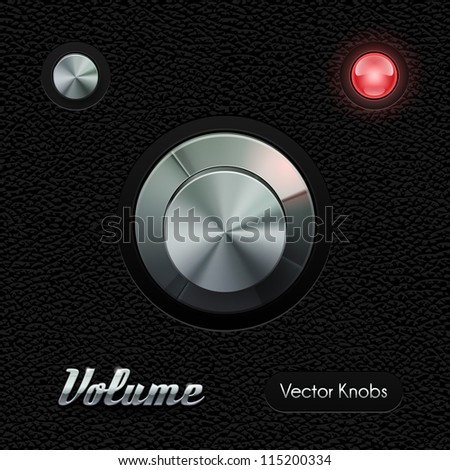 Hi-End UI Analog Volume Knob Chrome On Leather Background. Metal Button, Red Lamp, Bulb. Web Design Elements. Software Controls. Vector User Interface EPS10 - stock vector