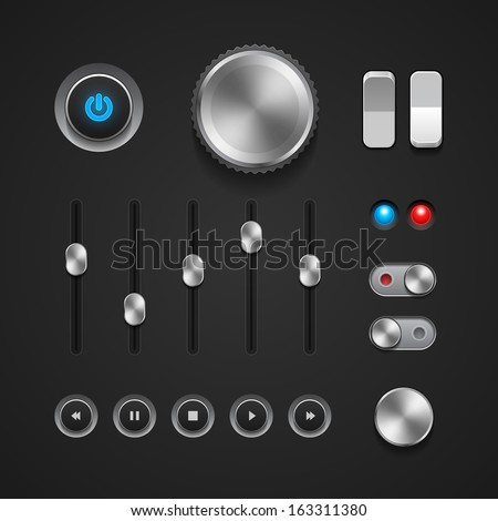 Hi-End User Interface Elements: Buttons, Switchers, On, Off, Player, Audio, Video: Play, Stop, Next, Pause, Volume, Equalizer, Power