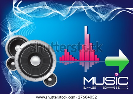 HI-FI Stereo Speaker Equalizer Background -Vector Art- - stock vector