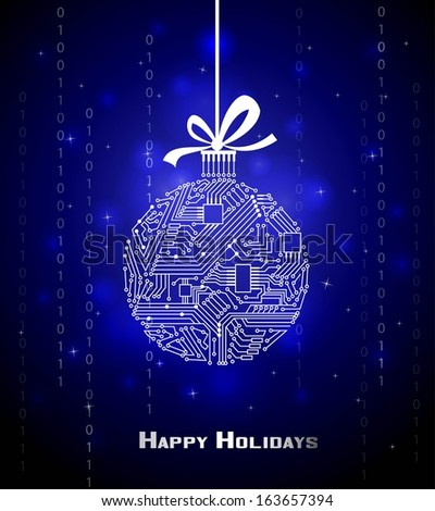 Hi-tech Christmas ball on blue background, from a digital electronic circuit  - stock vector