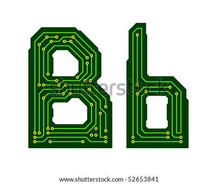 Hi-tech circuit board alphabet. Letter B - stock vector