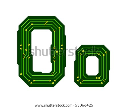 Hi-tech circuit board alphabet. Letter O - stock vector
