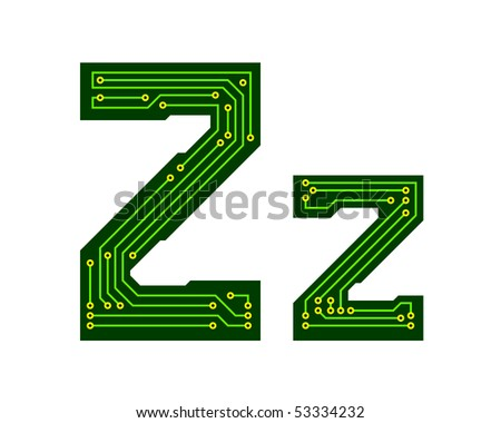 Hi-tech circuit board alphabet. Letter Z - stock vector