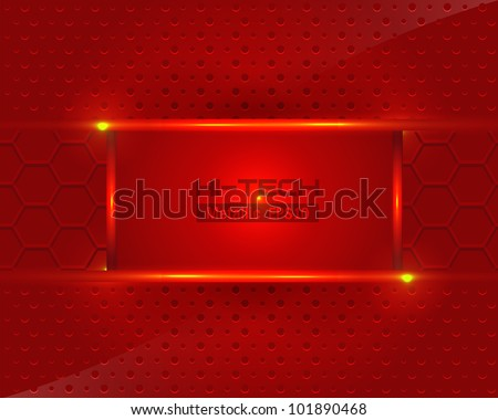 Hi-Tech Metallic Background Fire Red Vector Design - stock vector