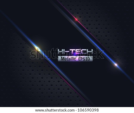 Hi-Tech Metallic Background Vector Design - stock vector