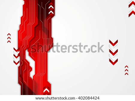 Hi-tech red abstract background with arrows. Vector geometric design. Technology corporate arrows illustration, technical arrows. Corporate brochure design - stock vector