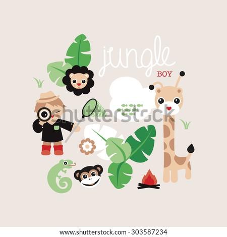 Hi there jungle boy cute safari postcard illustration giraffe lion lizard and monkey kids adventure background cover design in vector - stock vector