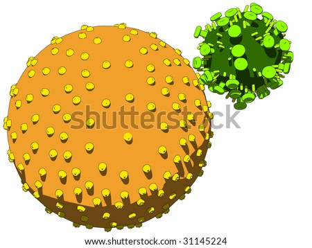 hi virus infecting cell - stock vector