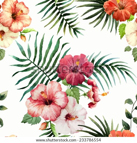 hibiscus, background, watercolor - stock vector