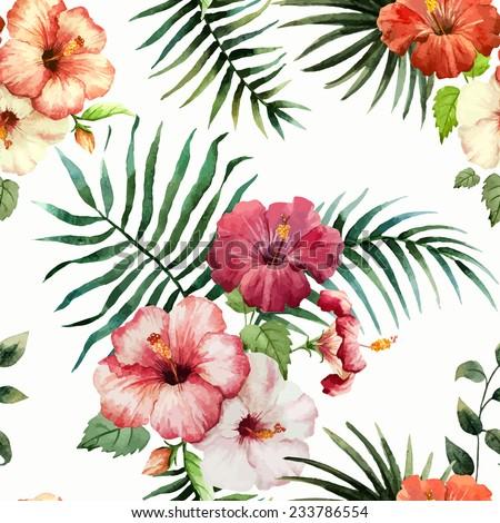 hibiscus, background, watercolor - stock vector